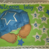 Cowboys Baby Shower 1/2 Sheet white almond sour cream