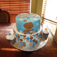 Modern Baby Shower Top tier is chocolate with chocolate ganache filling. Bottom tier is vanilla with oreos and cream filling