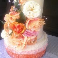 First Time To Do A Wedding Cake And A Fondant Frill Cake first time to do a wedding cake and a fondant frill cake.