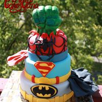 Super Hero Cake I had so much fun making this cake...watch out they fly.. ;)