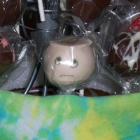 Chemo Head cake pops for a fund raiser for nephew dx with leukemia...the one with the face we called 'chemo head'