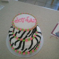 Zebra Birthday Cake Lime green and pink buttercream zebra birthday cake.