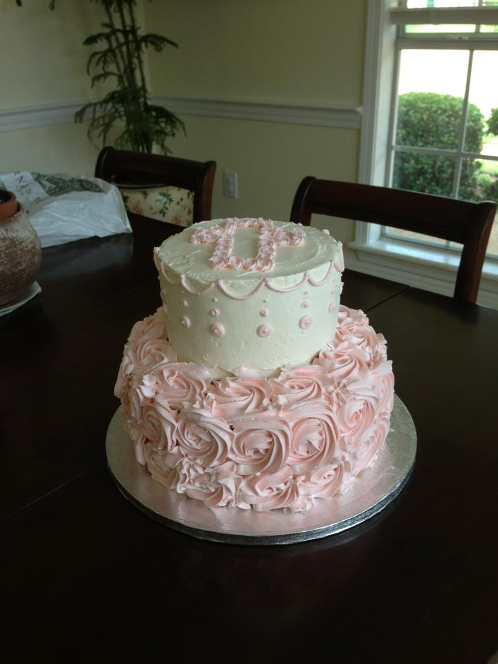 Girl Baptism Cake girl baptism cake - vanilla swiss meringue buttercream and chocolate cake - my first attempt at stringwork!