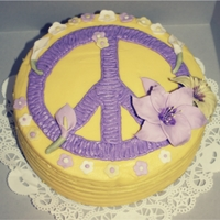 Lillies/peace Sign Cake