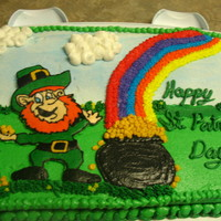 St Patricks Day Cake buttercream transfer, my first time.