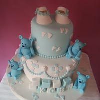 Baby Booties And Teddy Christening Cake
