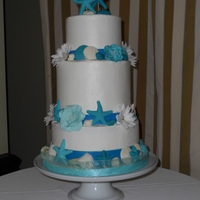 Seashell Wedding Cake With Starfish Toppers   Blue and White Seashell Wedding Cake with Starfish Cake Toppers.