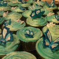 Blue Butterfly Wedding Cupcakes