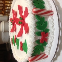Christmas Strawberry cake with buttercream and fondant decorations