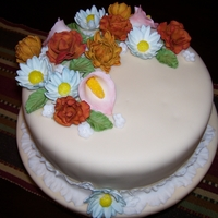1St Fondant Cake Class project using fondant for the first time. Loved using chalks to color the flowers!