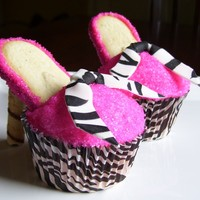 High Heel Cupcakes Hot pink and zebra themed party for a young girl. High heel cupcakes were the request and I love how they turned out!