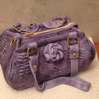 Purple Purse With Alligator Texture Entirely Edible Purple purse with alligator texture, entirely edible
