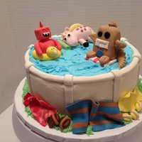 "Critters Pool Party buttercream pool with gum paste critters.My niece drew the three creatures for her idea for her birthday cake and I was told ""good..."