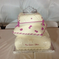 Quinceanera fondant covered pillow cakes with gum paste tiara