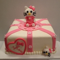 Hello Kitty Hello Kitty cake covered with butter cream and fondant decorations. Kitty made from 50/50.