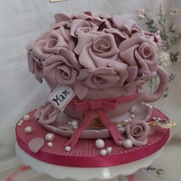 For My Mum! Tea cup and saucer Chocolate cake with yummy Galaxy chocolate frosting filling