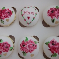 Mother's Day Hand painted fondant domes decorated with edible gel paint