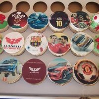17Th Birthday Cupcakes Theme - Welsh rugby, Rally cars, Manchester United and Barcelona