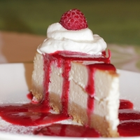 Cheesecake   Buttermilk cheesecake with raspberry sauce