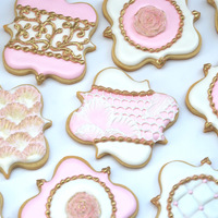 Pink, White And Gold Fancy Square Cookies