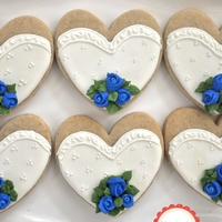 Bride And Groom Cookies, Royal Blue Rosebud Bouquet These cookies flew to Guam this June. I am happy to announce, not one cookie broke. All 105 of them arrived safe! Thanks USPS. And my...