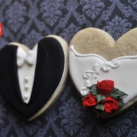 Bride And Groom Heart Cookie Favors, Holiday Theme These were made for photo samples for my Etsy Store. Cookies are about 3.5 x 3.5 in size. Iced in royal icing and finished with white satin...