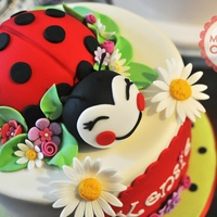 Ladybug Birthday Cake Round 9x6 cake topped with ladybug in 5 inch dome cake and fondant head. All other decorations are fondant. Red velvet cake, vanilla bean...