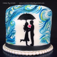 Hand Painted Love In The Rain I've been toying with this sketch for a few days now, and this is the result!>White cake with Chocolate Fudge Buttercream,...