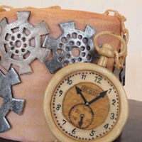 Clocks Inspiration Challenge Yellow Cake covered in fondant. All gears are made of fondant. Pocket watch is made of fondant and hand painted.