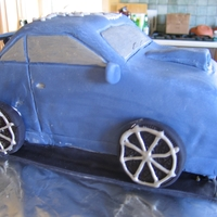 Blue Car My 2nd fondant cake - 1st for client outside family.