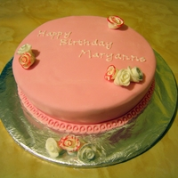 Pink Rose Birthday Vanilla sponge with buttercream & jam filling