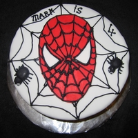 Spiderman Face   8in vanilla sponge with b/c & jam filling