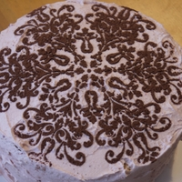 Stencilled Cake Mixed Summer Berry Cake with French Medallion Cocoa Stencil