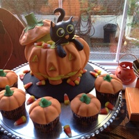 Cat Pumpkin Cake And Cupcakes   For my daughters 2nd birthday