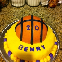 Basketball Birthday Cake This basketball cake was made for a friend's son's 20th birthday. I used half of the round cake mold for the basketball and an 8...