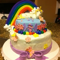 Unicorn Rainbow Cake This birthday cake is a replica of a cake my friend?s daughter saw on line (not sure if it is on Cake Central or not) and wanted the exact...
