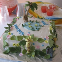 Jungle Baby Shower Fondant animals with buttercream icing.