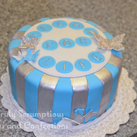 Silver, Blue And White Striped Cake For Relay For Life