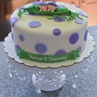 """two Peas In A Pod"" Baby Shower Cake For Twin Girls. ""Two peas in a pod"" baby shower cake for twin girls. 9"" Round cake, 4"" tall. 3 layers of cake, vanilla/choc/vanilla,..."