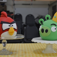 Angry Red Bird And King Pig Angry Birds Red Bird and King Pig made using Wilton Sports Ball Pan. Homemade MMF/gumpaste. One was choc, one was vanilla, made for a...