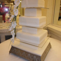 6 Tier Ivory Wedding Cake With Orchid Spray 6 TIER IVORY WEDDING CAKE WITH ORCHID SPRAY