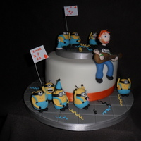 Ed Sheeran Concert Party Cake With Minions Concert Fans all models are handmade