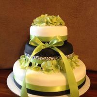 Green And Black Wedding Cake All Vanilla cake, fake flowers and ribbon, at the bride's request