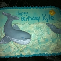 Whale Of A Cake Ocean with whales birthday cake. I hand sculpted the whales