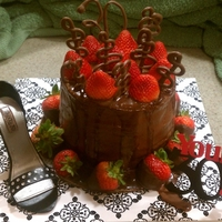 "Bday Cake With Shoe And Strawberries This chocolate cake was for my niece's 30th Bday. It was three 8"" cakes stacked, chocolate icing, ganache (that was kinda thin)..."