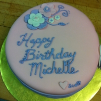 Scallop Birthday Cake Pink and Purple Birthday cake