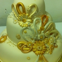 Bridal Shower Cake ring with gold accents
