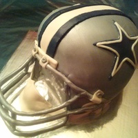 Dallas Cowboy Football Helmet Cake   THIS HELMET CAKE IS A 4-LAYER RED VELVET WITH VANILLA BUTTERCREAM...DESIGNED WITH FONDANT AND DETAIL!!!