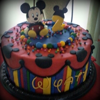 Just For Wyatt Wyatt loves Mickey, so we made him a chocolate/vanilla swirl cake with mm fondant.