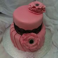 Pink And Black Wedding Cake With Fondant Pleats And Fantasy Flowers Pink and black wedding cake with fondant pleats and fantasy flowers